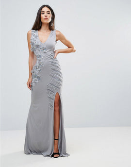 A Star Is Born Embellished Maxi Dress With Cut Out Sides - Grey silver