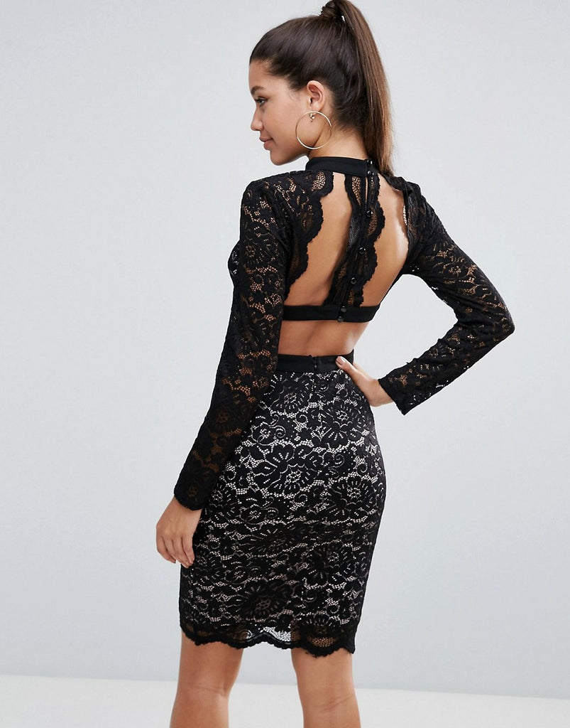 Love Triangle Allover Lace Pencil Dress With Scallop Back Detail - Black