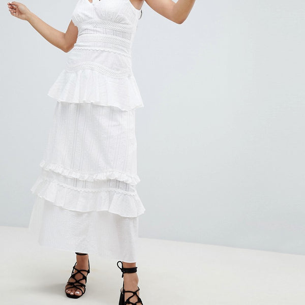 Lost Ink Cami Maxi Dress With Ruffle Layers In Crochet Mix Fabric - White