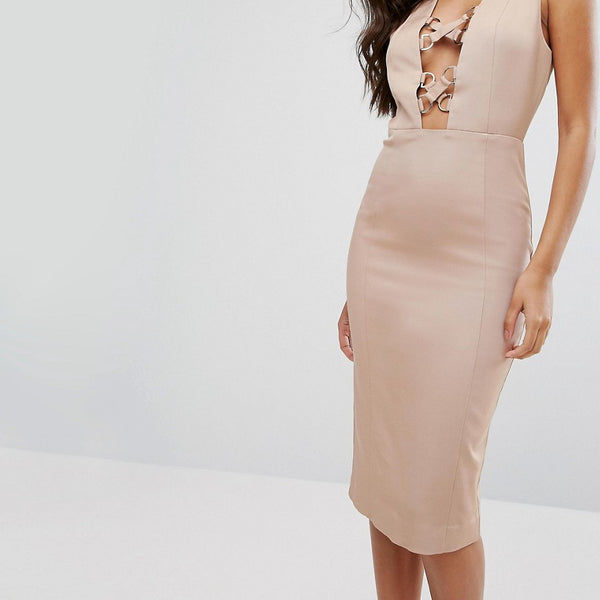 Misha Collection Pencil Dress With Lace Up Plunge - Warm taupe