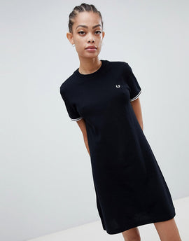 Fred Perry Twin Tipped Heavyweight T-Shirt Dress - Black