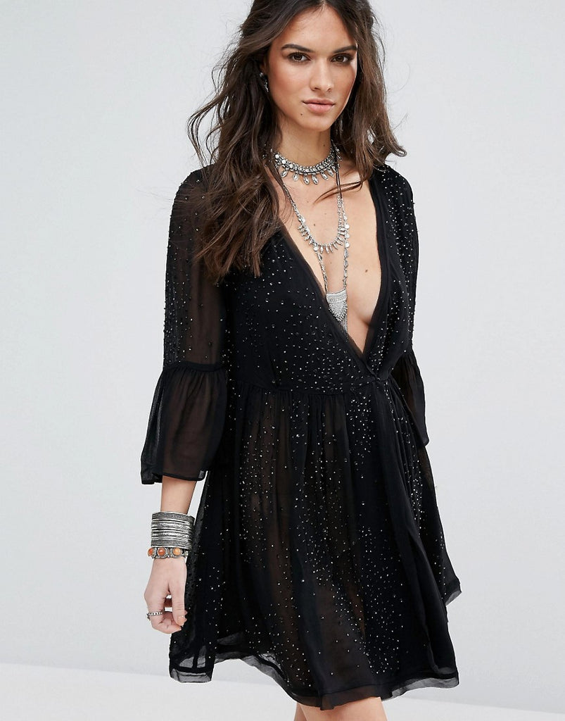 Free People Winter Solstice Embellished Party Dress - Black