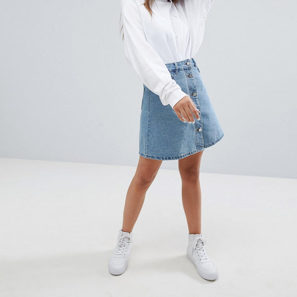 Noisy May Button Up Front Skirt - Light blue denim