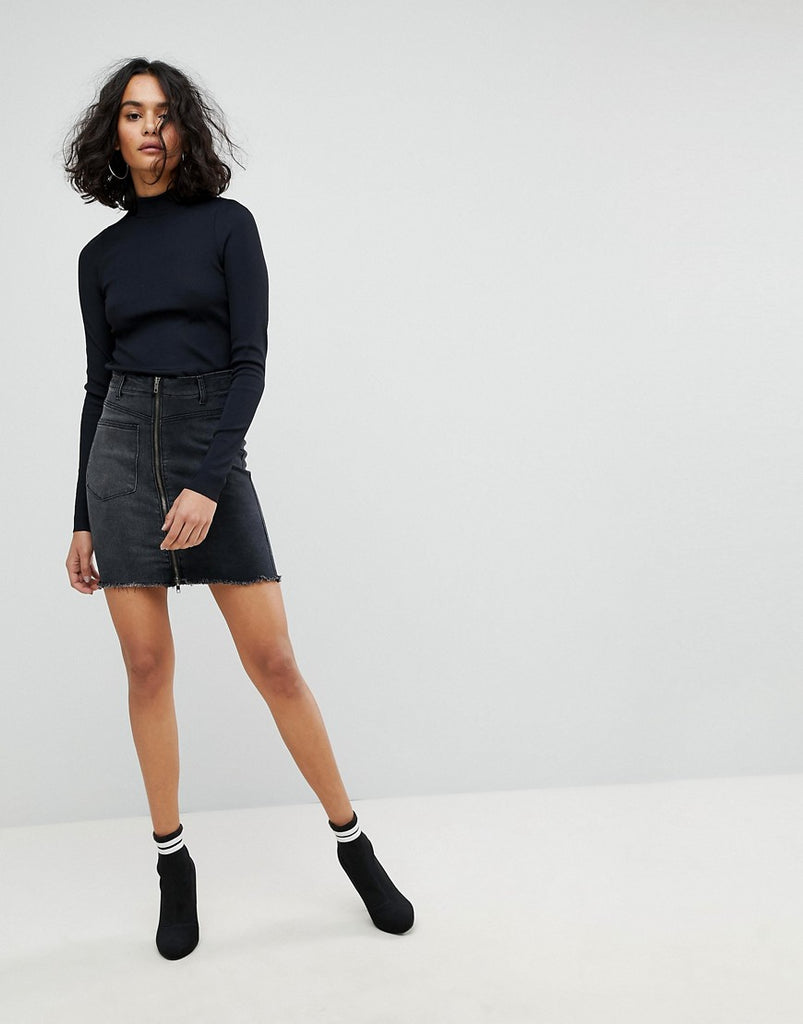 Liquor N Poker Mini Denim Skirt with Asymmetric Pocket and Embroidery - Washed black