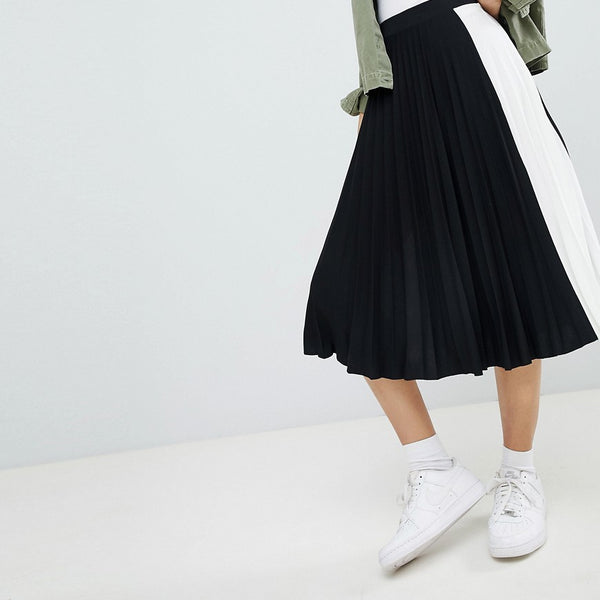 Bershka side stripe pleated midi skirt in black - Green