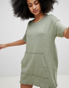 Pull&Bear Pocket Front Dress - Khaki