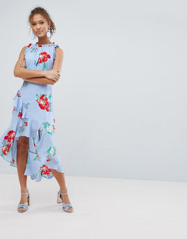 Miss Selfridge Floral Print Ruffle Shoulder Midi Dress - Blue