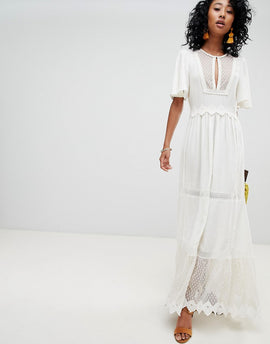 Cleobella Boho Lace and Mesh Maxi Dress - Ivory