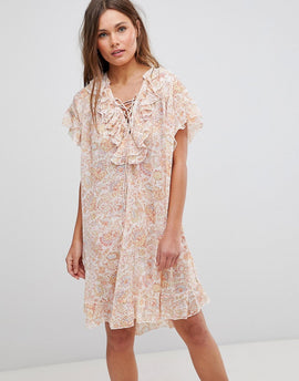 En Creme Short Sleeve Floral Dress With Ruffles & Criss Cross Strings - Ivory multicolor