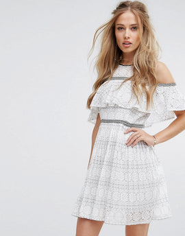 Foxiedox Cold Shoulder Lace Skater Dress - White