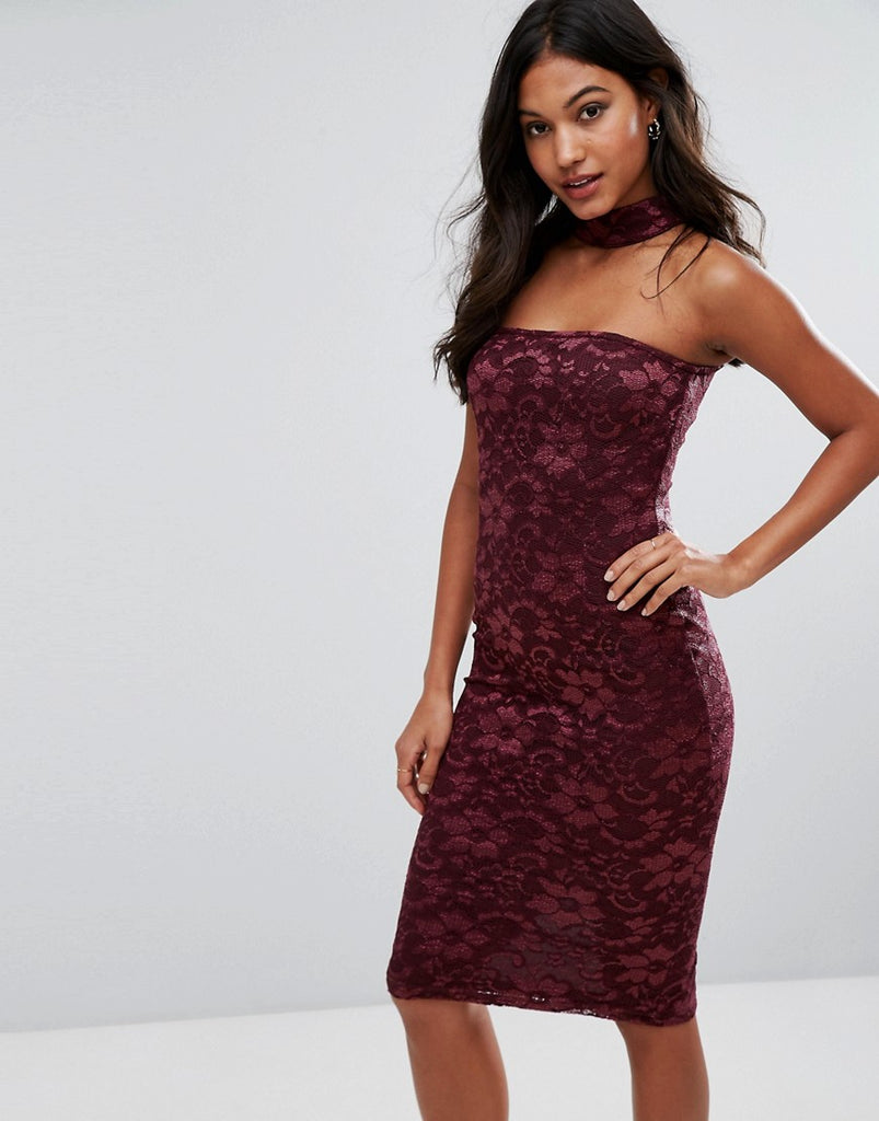 AX Paris Choker Neck Midi Lace Dress - Wine