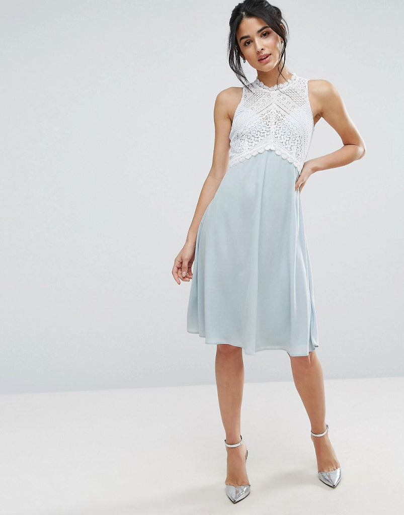 Elise Ryan Midi Dress With Crochet Lace Bodice - Blue/ivory