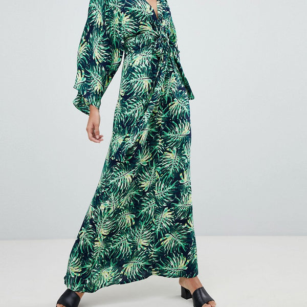 QED London Printed Maxi Dress With Kimono Sleeves - Navy green