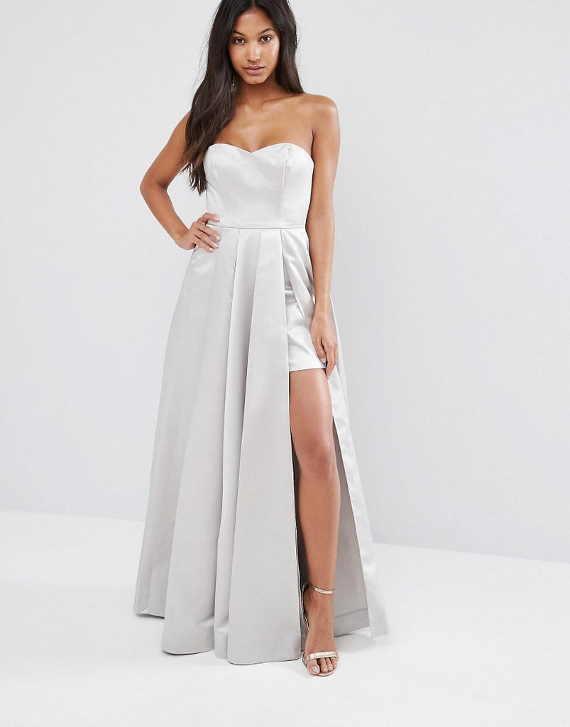 Fame and Partners Maxi Structured Prom Dress in Satin - Light grey