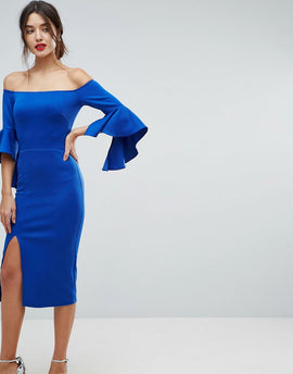 True Violet Bardot Pencil Dress With Extreme Sleeve Detail - Electric blue