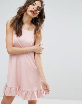 Nobody's Child Sleeveless Dress With Frill Hem In Satin - Blush