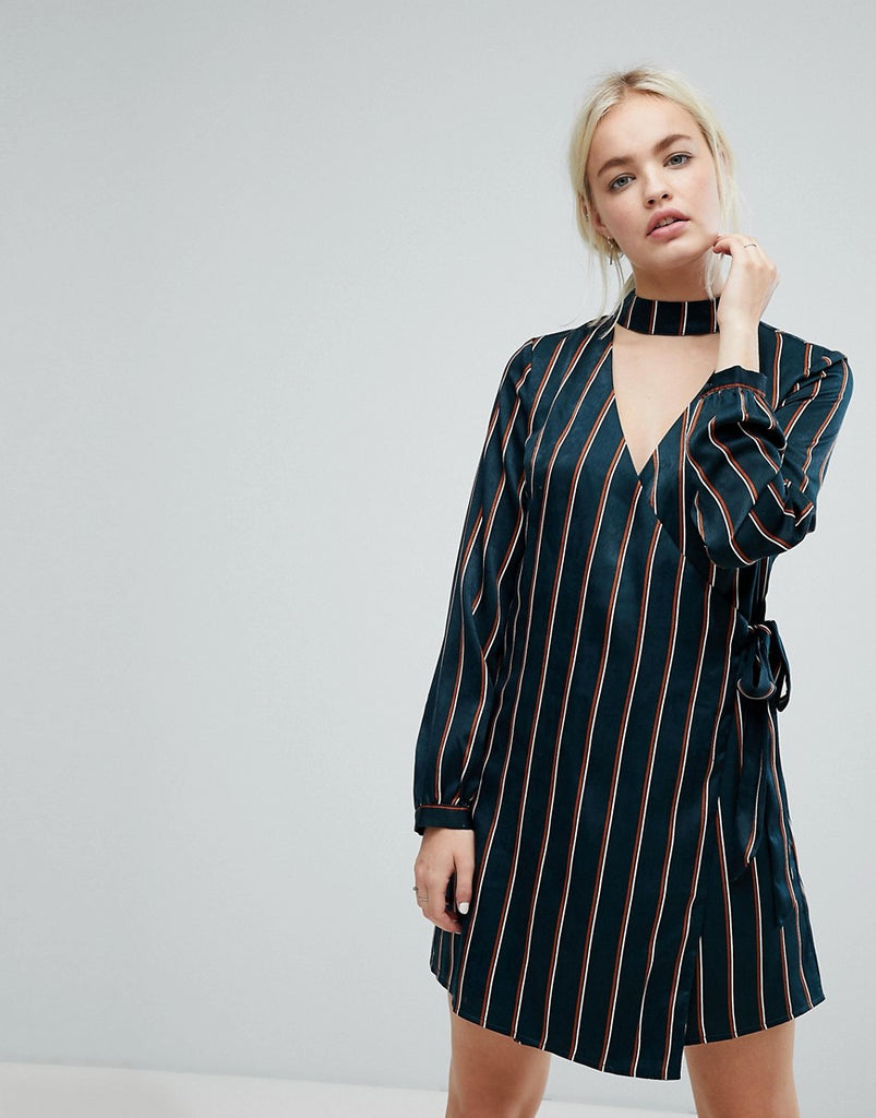 J.O.A Wrap Front Dress With Choker Neck In Satin Fine Stripe - Green multi