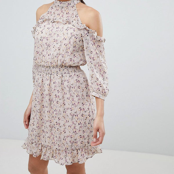 Vila Cold Shoulder Ruffle Dress - Adobe rose