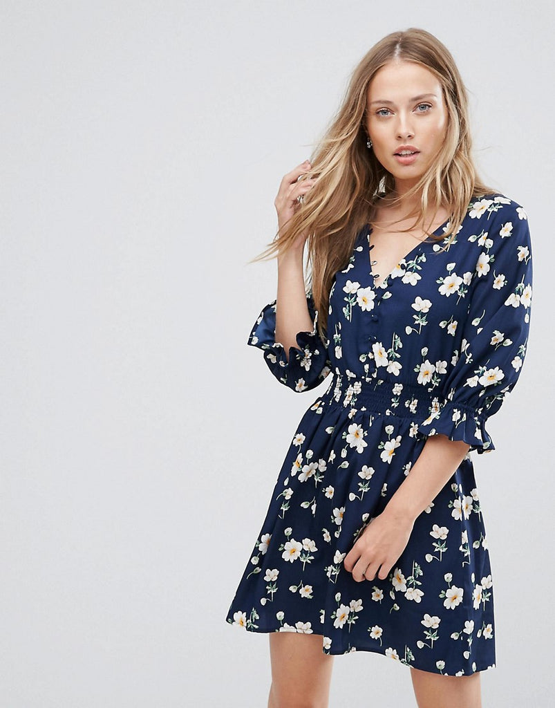 Influence V Neck Tea Dress With Gathered Sleeve - Blue floral