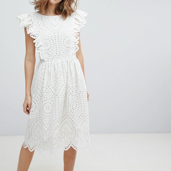 Paul & Joe Sister Broderie Anglaise Frill Dress - White