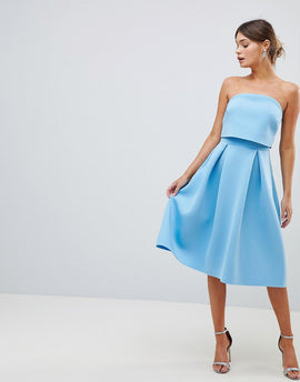 ASOS DESIGN Bandeau Crop Top Prom Midi Dress - Blue