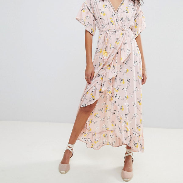 Moon River Ditsy Floral Wrap Maxi Dress - Pink floral