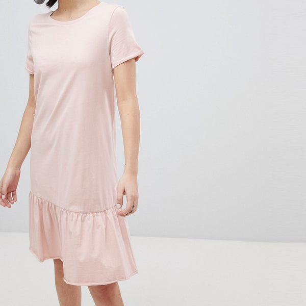 Vero Moda Aware Drop Hem T-Shirt Dress - Pink