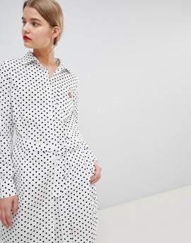 Essentiel Antwerp Shirt Dress in Spot Print - Off white