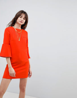 Cubic Diana Trumpet Sleeve Shift Dress - Red