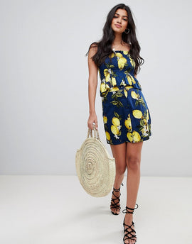 Glamorous Button Down Skirt In Lemon Print Co-Ord - Navy