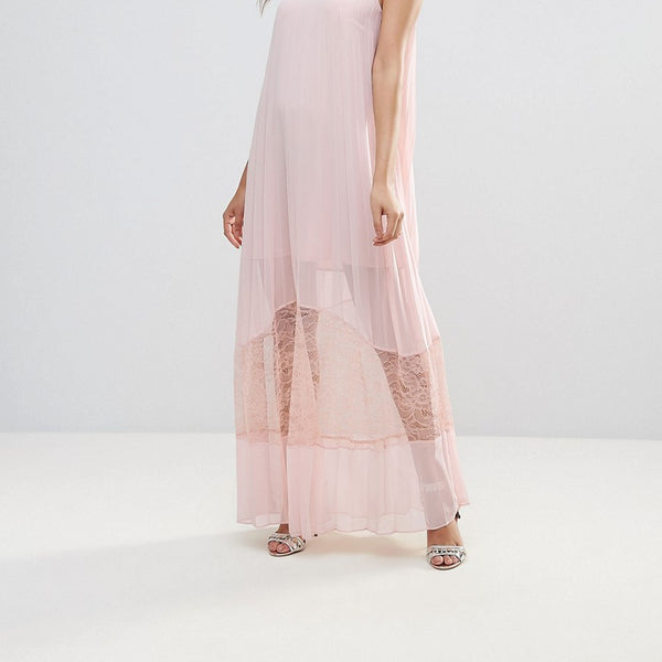BCBG Sheer A-Line Midi Dress with Lace Hem - Rose smoke