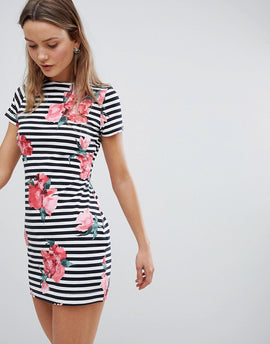 French Connection Stripe and Floral Print Dress - Nocturnal/ wht multi