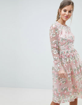 Chi Chi London Premium Embroidered Floral Long Sleeved Midi Prom Dress with Open Back - Pink multi