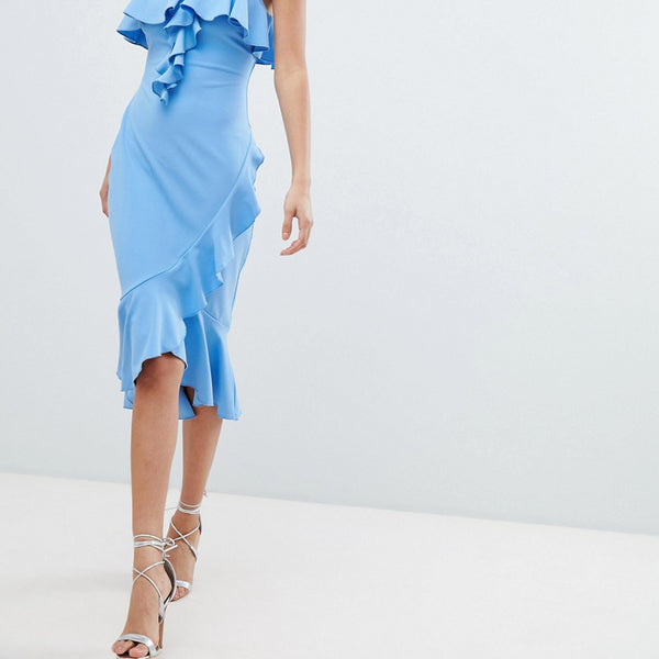 Jessica Wright Blue Ruffle Midi Dress - Blue