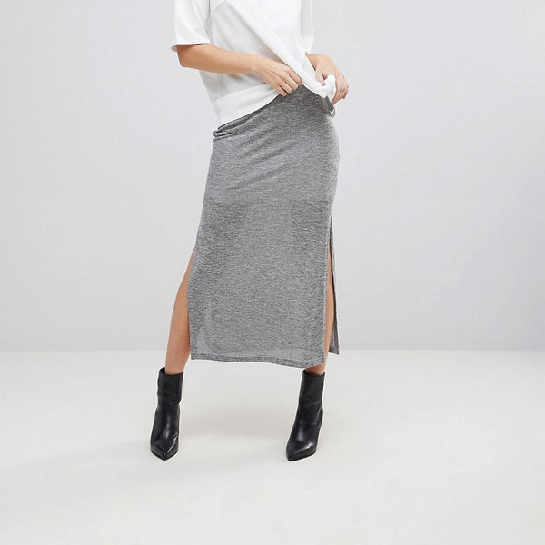 The Fifth Unknown Side Slit Maxi Skirt - Charcoal