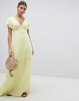 PrettyLittleThing Angel Sleeve Maxi Dress - Lemon