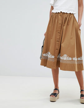 French Connection Embroidered Midi Skirt - Warm sand