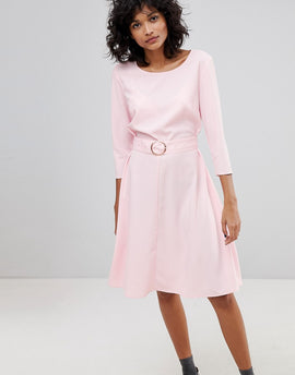 2nd Day Ring Belted Midi Dress - Pink