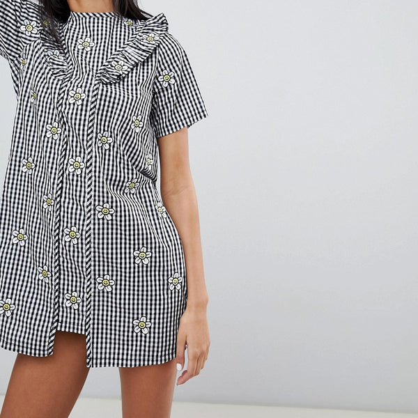 Lazy Oaf Gingham Dress With Floral Embroidery - Black