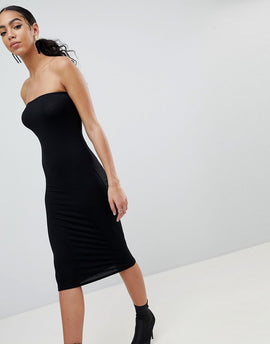 PrettyLittleThing Bandeau Midi Dress - Black