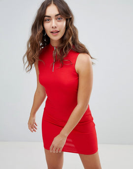 New Look Zip Detail High Neck Bodycon Dress - Red