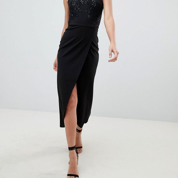 AX Paris Wrap Front Sqaure Neck Maxi Dress With Sequin Detail - Black
