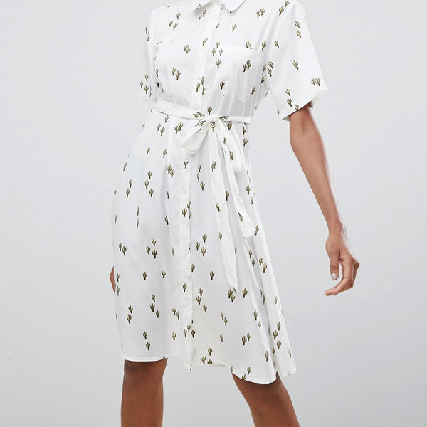 Liquorish Cactus Print Midi Dress - White