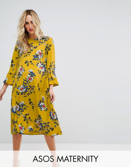 ASOS Maternity Printed Midi Column Dress with Fluted Sleeve in Dark Floral Print - Yellow base