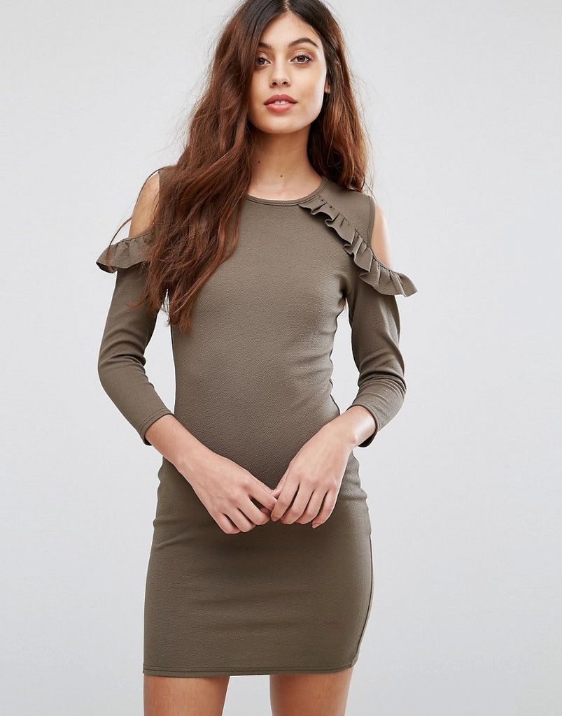Be Jealous Cold Shoulder Dress With Frill Detail - Khaki