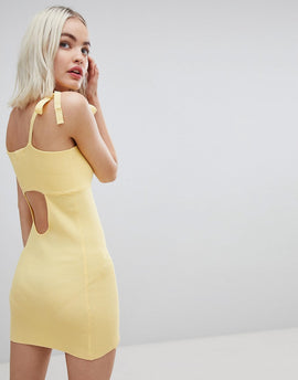 Emory Park Tie Shoulder Cami Dress In Fine Rib Knit - Lemon