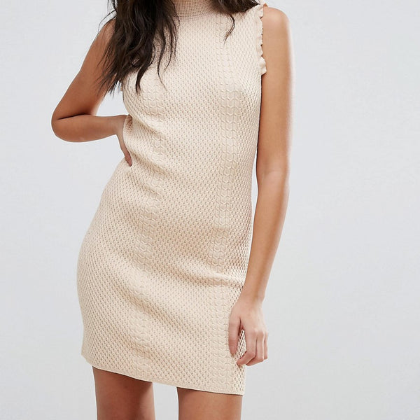 Endless Rose High Neck Textured Bodycon Dress - Nude pink