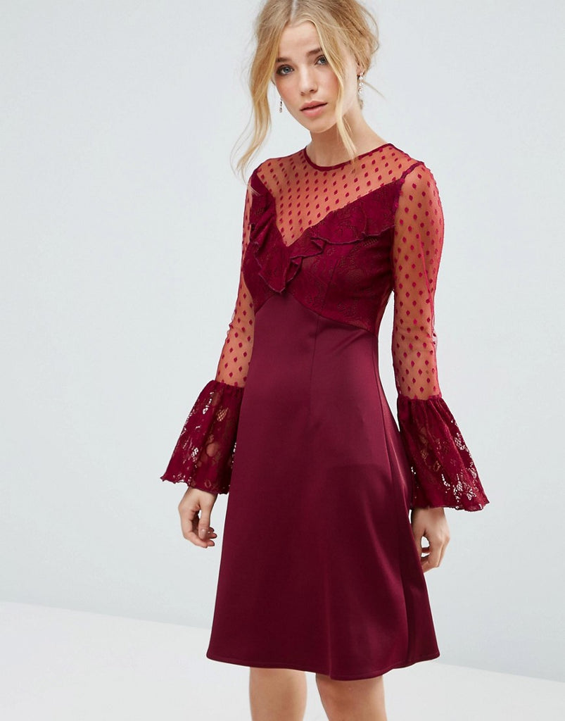 Elise Ryan A Line Mini Dress With Lace Frill & Fluted Long Sleeve - Deep wine