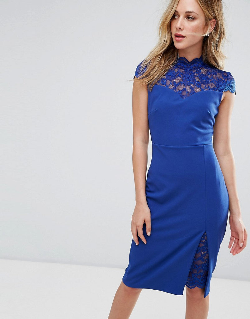 City Goddess Pencil Dress With Lace Inserts - Royal blue