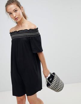 New Look Shirred Contrast Stitch Bardot Beach Dress - Black